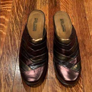 Naot metallic leather slip on clogs